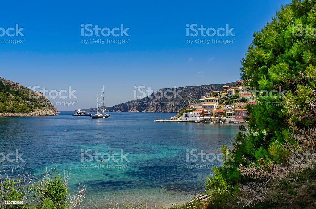Super Yachts at Assos stock photo