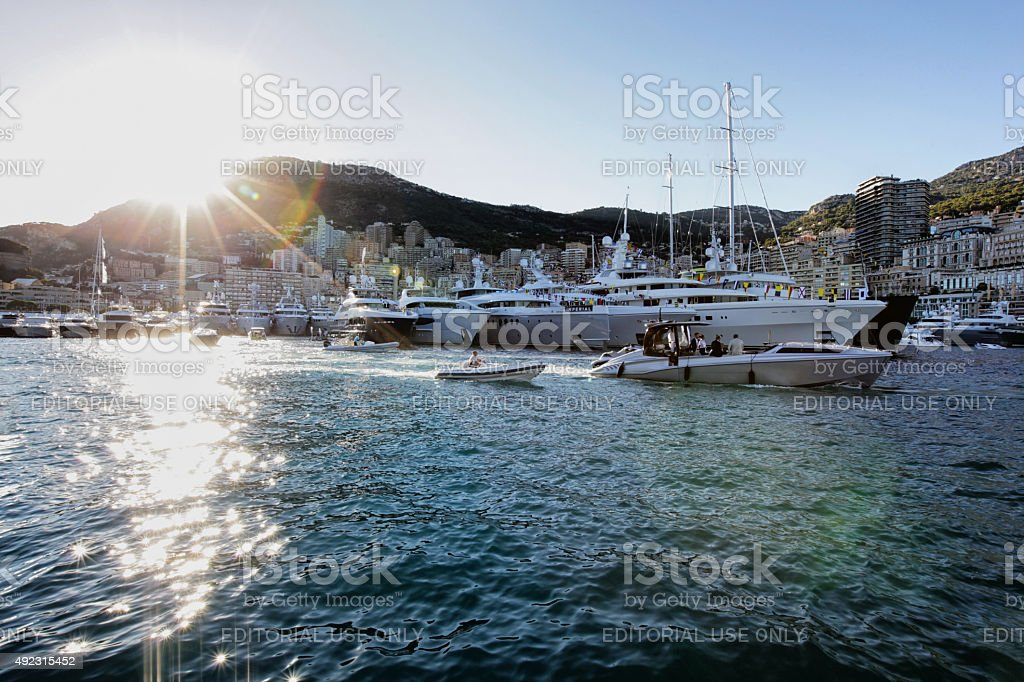 Super Yachts in Monaco Yacht Show stock photo