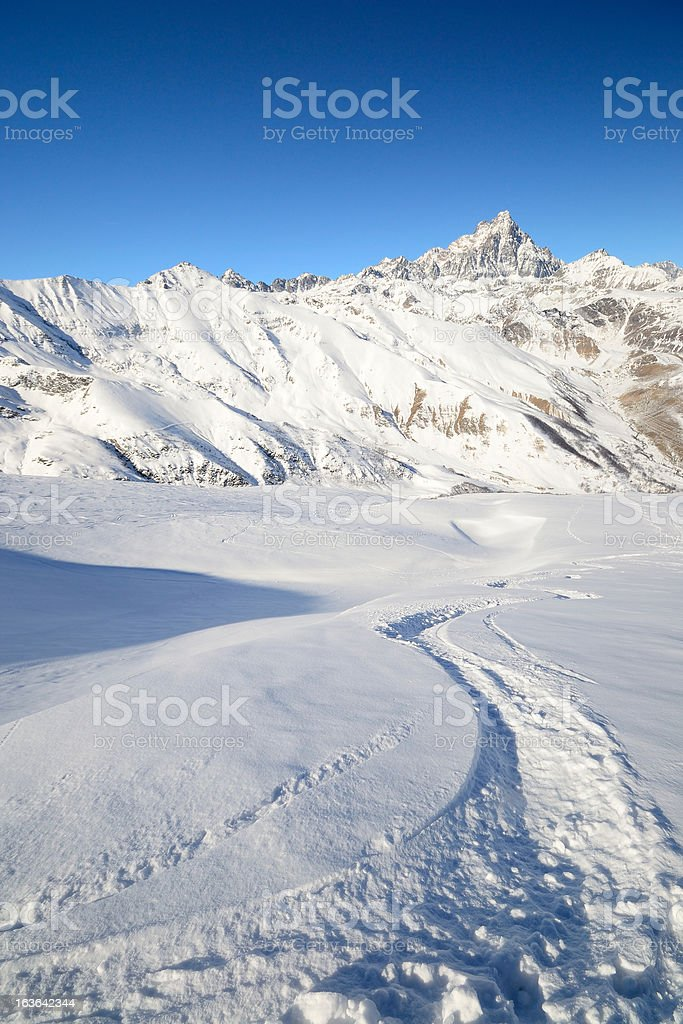 Superb back country skiing royalty-free stock photo