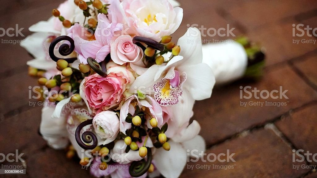 Superb colorful wedding flowers bouquet stock photo