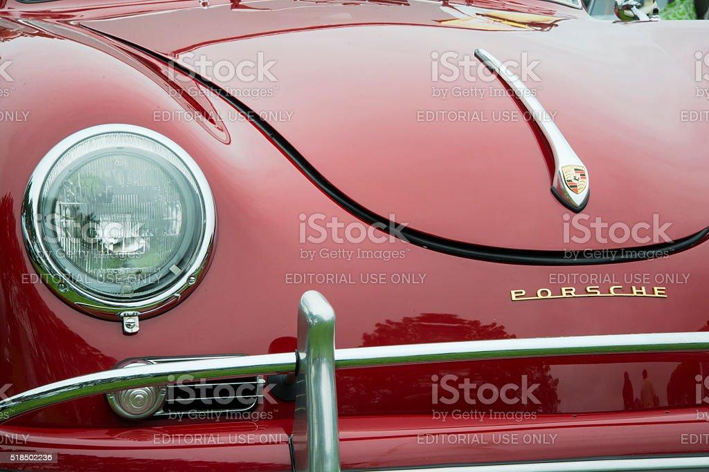 Superbly Maintained Vintage Polyantha Red Porsche Speedster stock photo