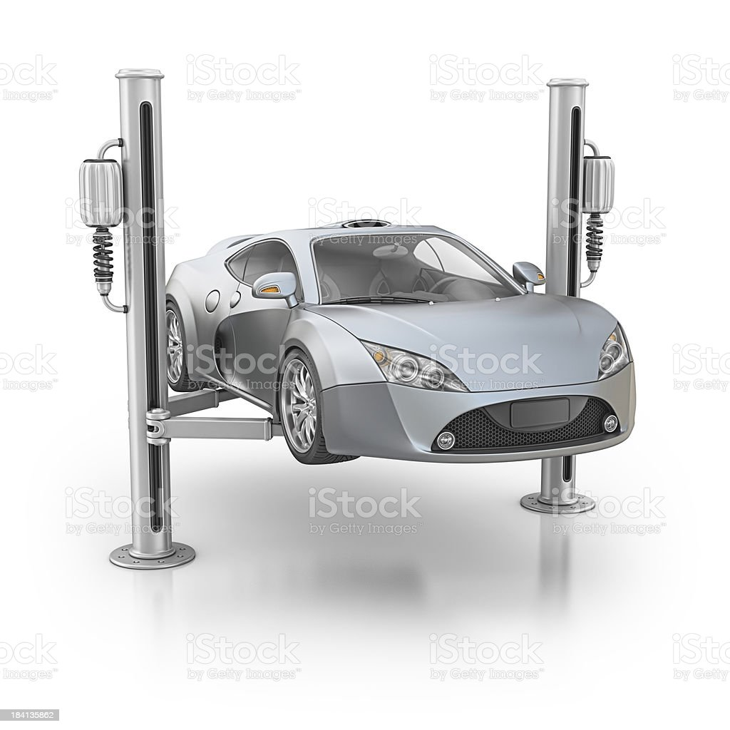 supercar and hydraulic elevetor stock photo