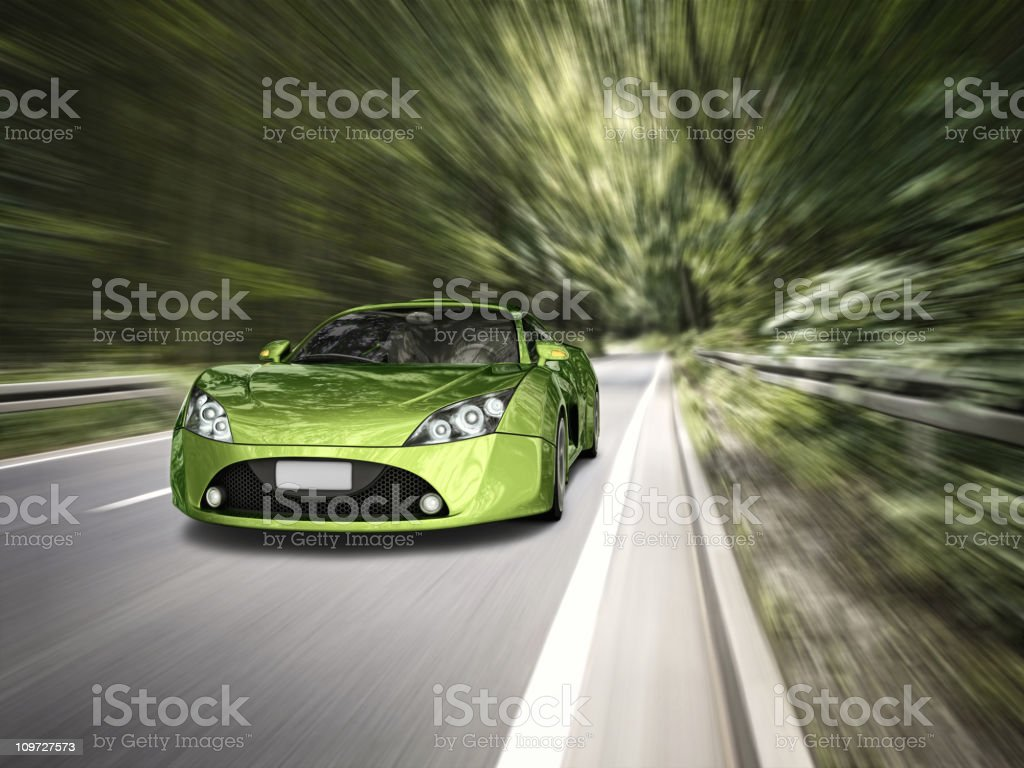 supercar in forest royalty-free stock photo