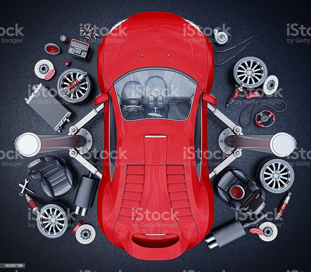 supercar parts stock photo