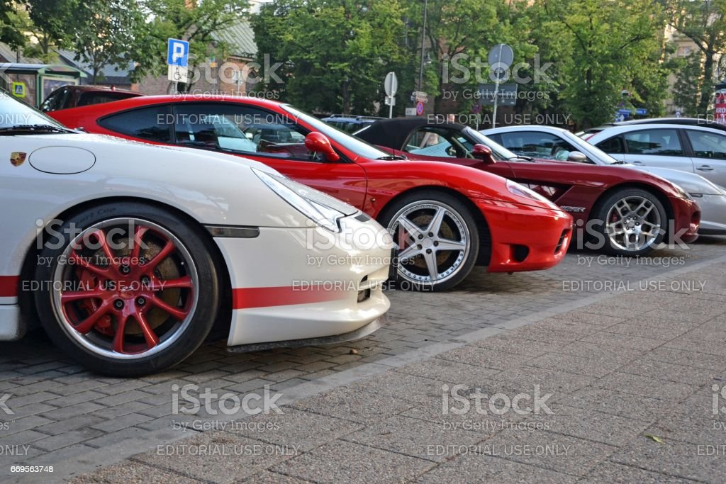 Supercars parked on the street stock photo