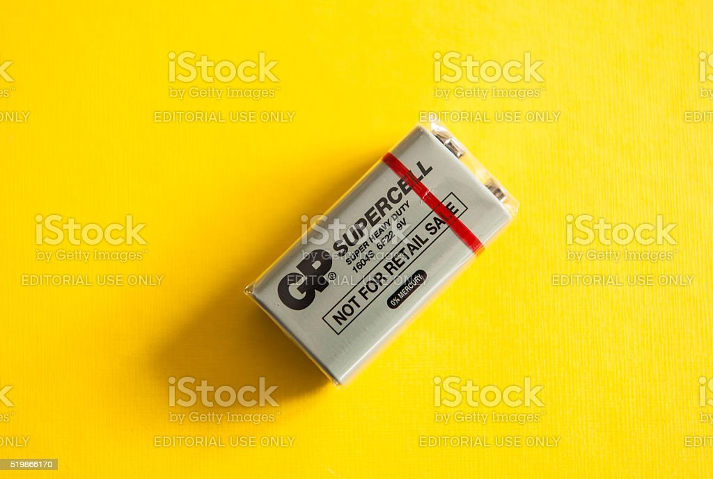 GP Supercell - Super Heavy Duty PP3-size 9-volt alkaline battery stock photo