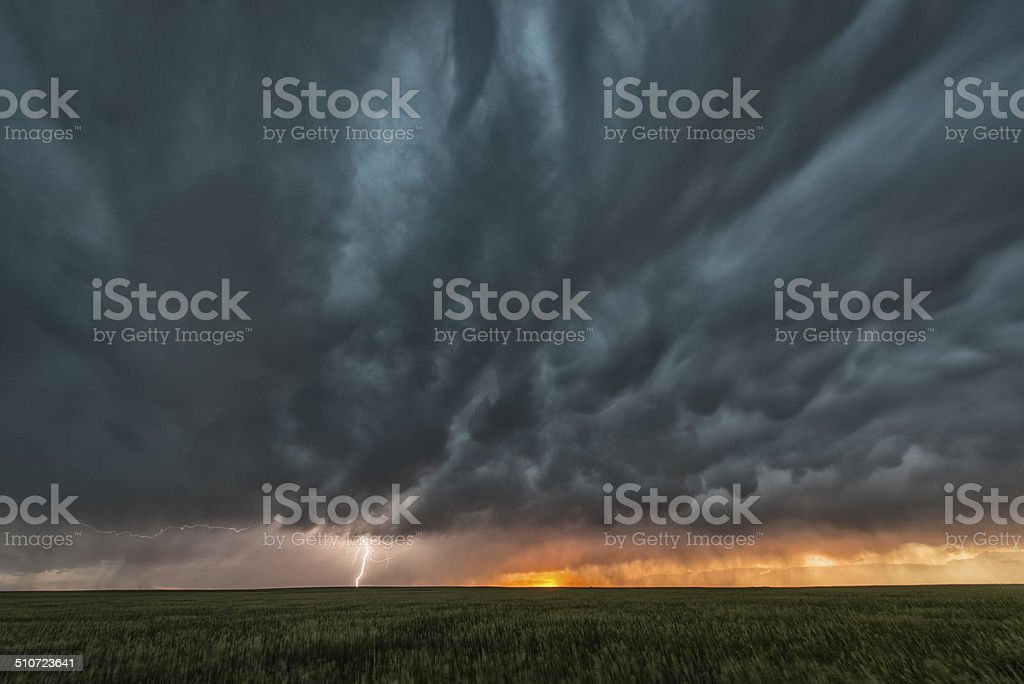 Supercell thunderstorm and mammatus cloud on Tornado Alley stock photo