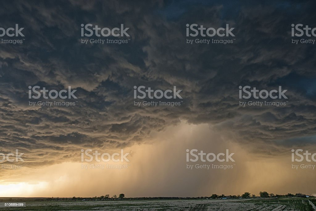 Supercell thunderstorm at sunset, Oklahoma, Tornado alley USA stock photo