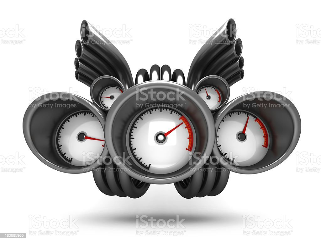 Supercharged isolated car turbo speedometer royalty-free stock photo