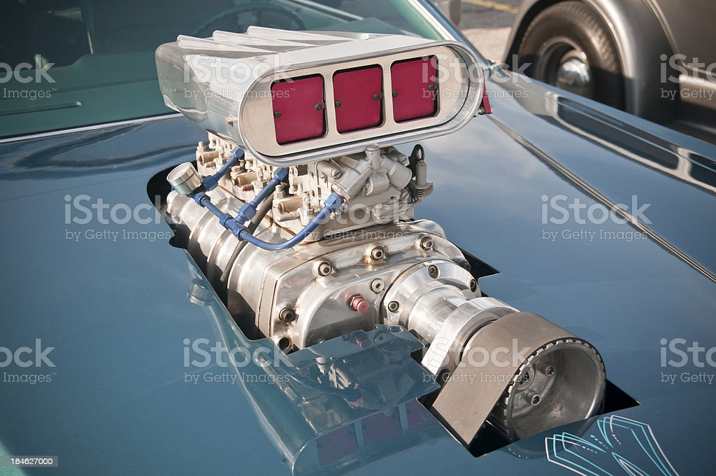 Supercharged Muscle Car Engine stock photo