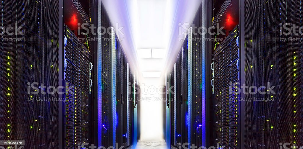 supercomputer clusters in the abstract room data center stock photo