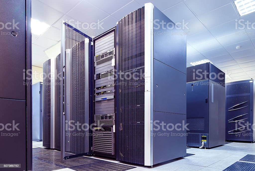 supercomputer clusters in the room data center stock photo