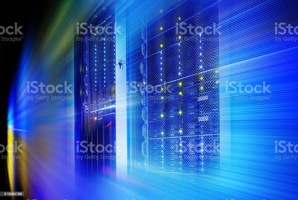 supercomputer disk storage in series  equipment. motion blur stock photo