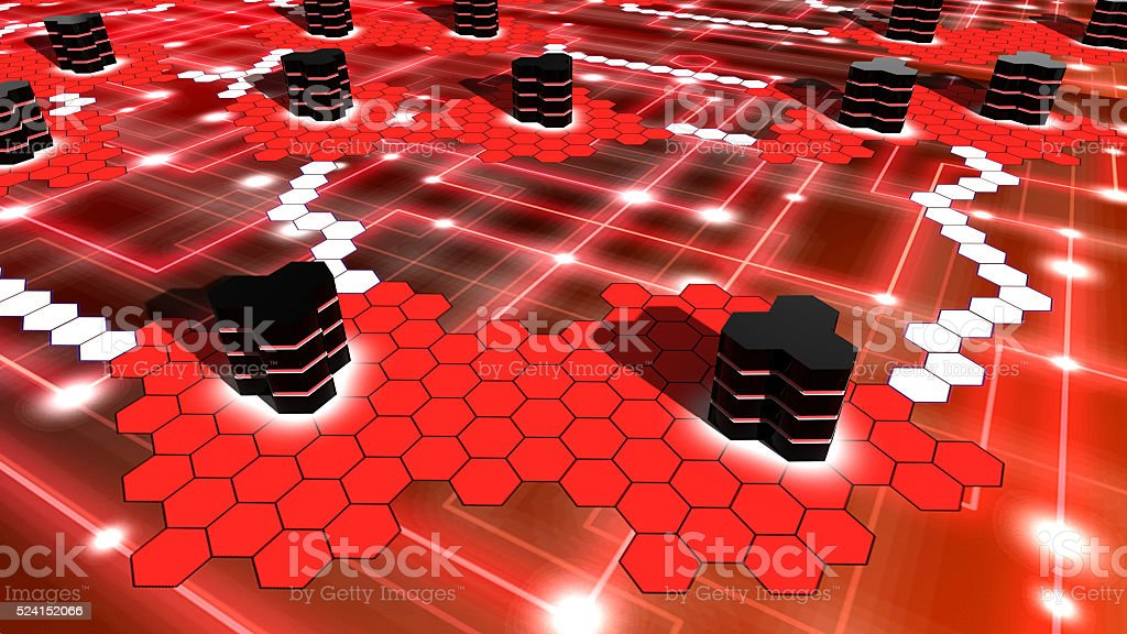 Supercomputer network on in red hexagon shaped stock photo