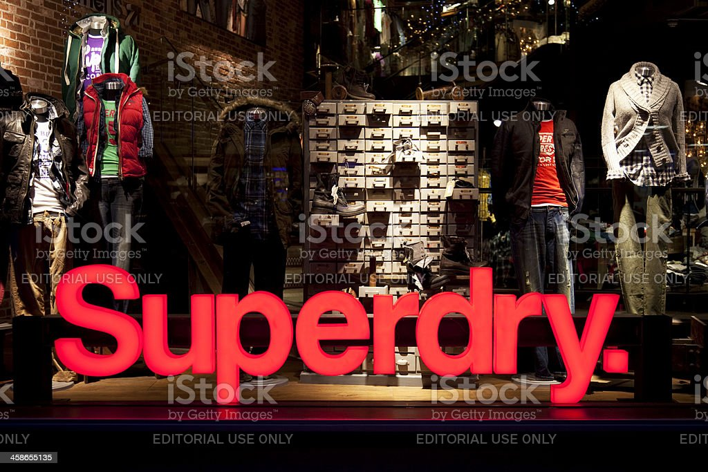 Superdry clothing store shop window, sign and logo stock photo