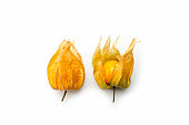 Superfood, golden berry plant in two phases (Physalis peruviana)