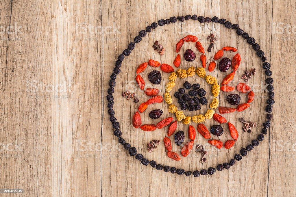 Superfood mandala design stock photo