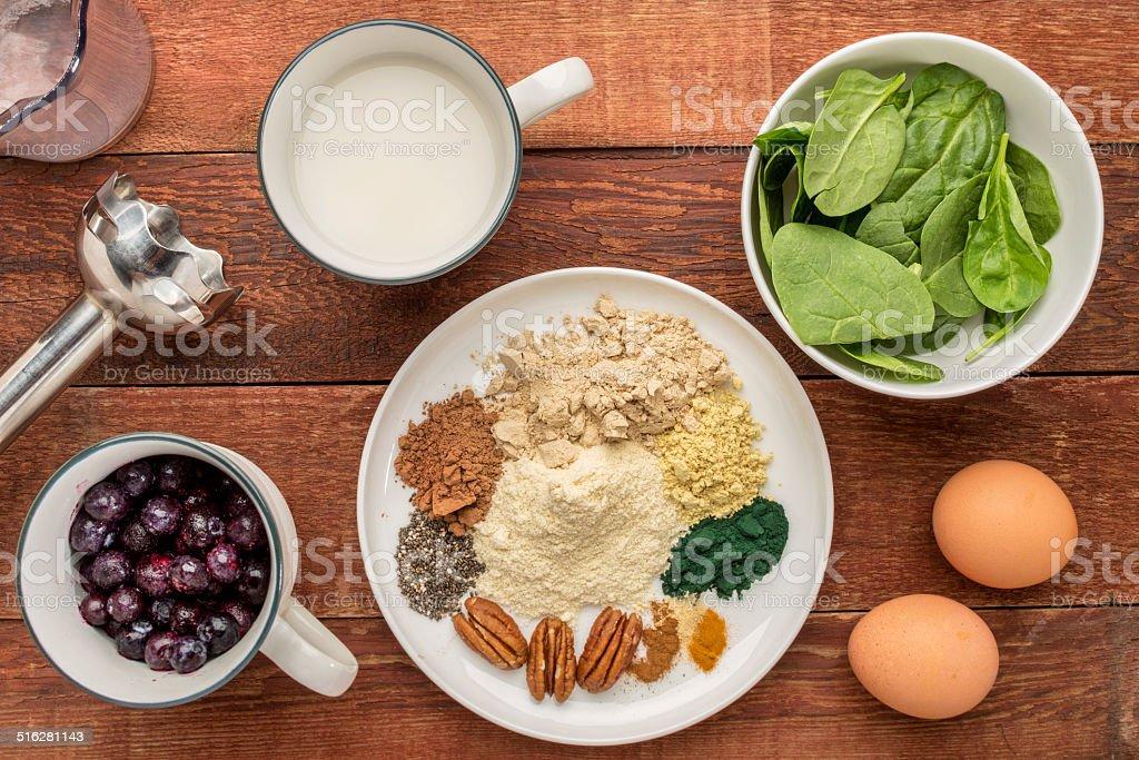 superfood smoothie ingredients stock photo