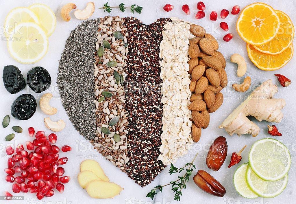 Superfoods concept. Detox program ingredients. stock photo