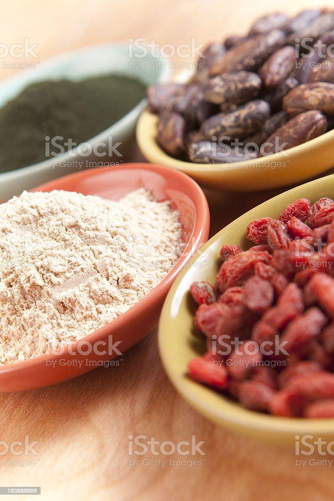 Superfoods: Goji, Maca, Cocao, Spirulina royalty-free stock photo