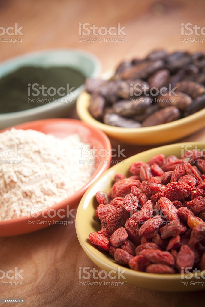 Superfoods: Goji, Maca, Cocao, Spirulina stock photo