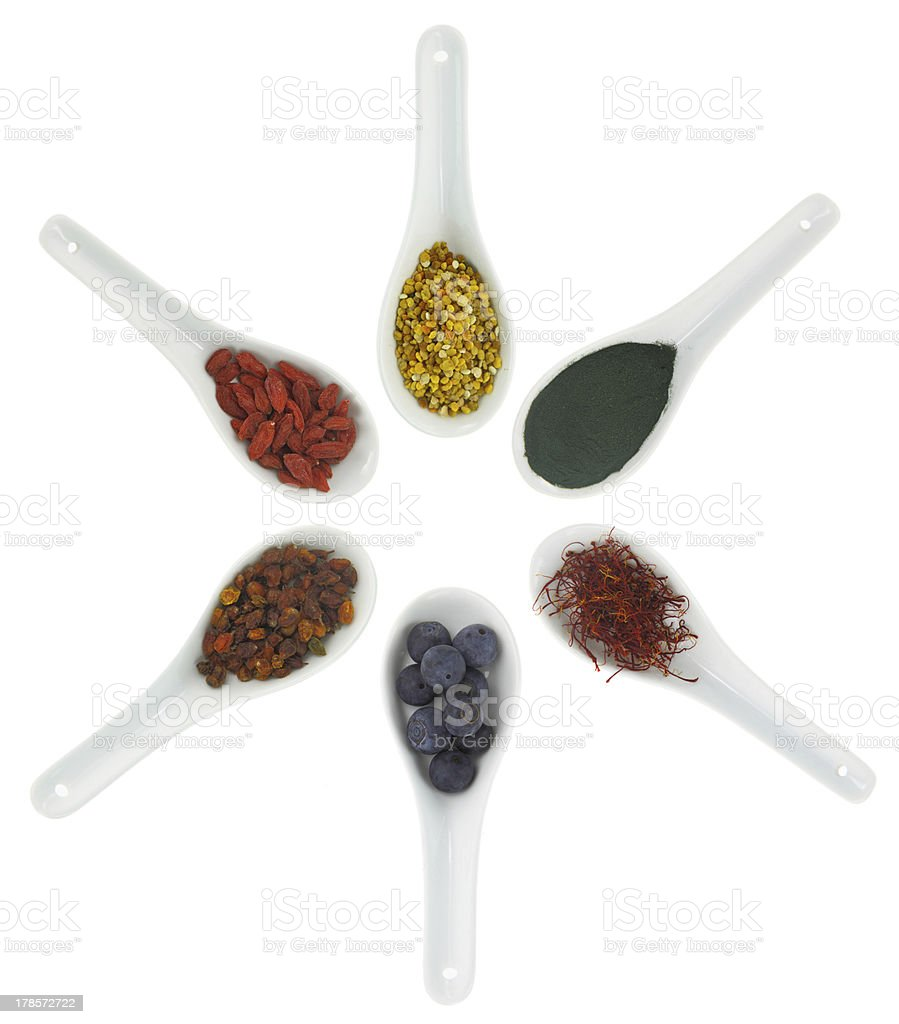 Superfoods in porcelain spoons. Pollen, goji berries, blueberrie royalty-free stock photo
