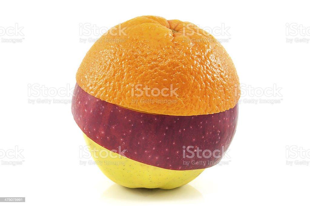 Superfruit - yellow, red apple and orange stock photo