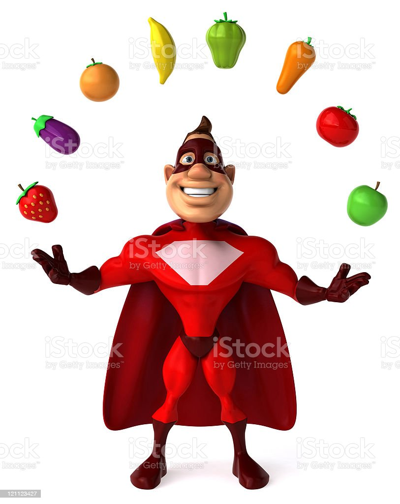Superhero and vegetables royalty-free stock photo