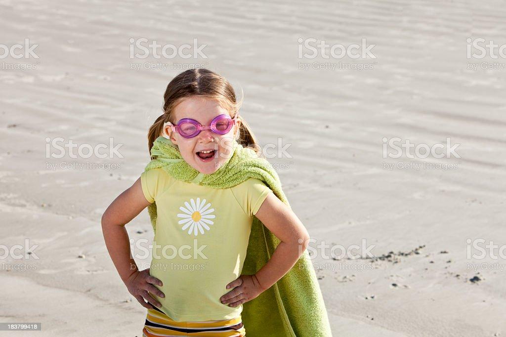 Superhero at the beach stock photo