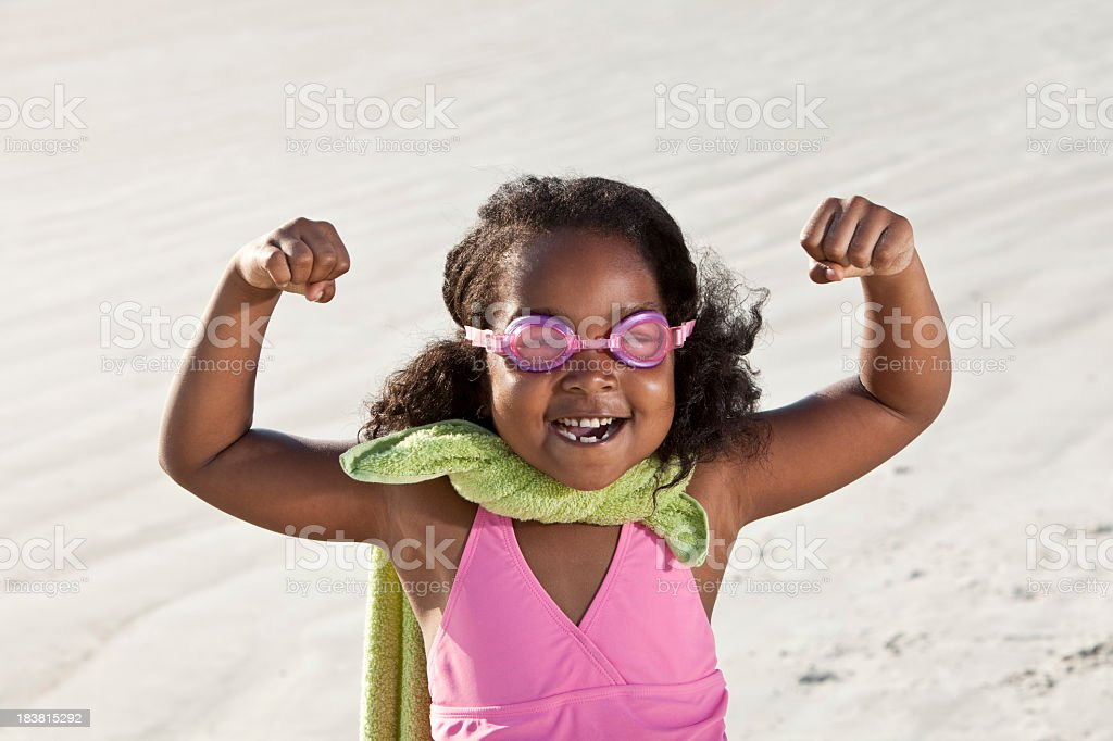 Superhero at the beach royalty-free stock photo