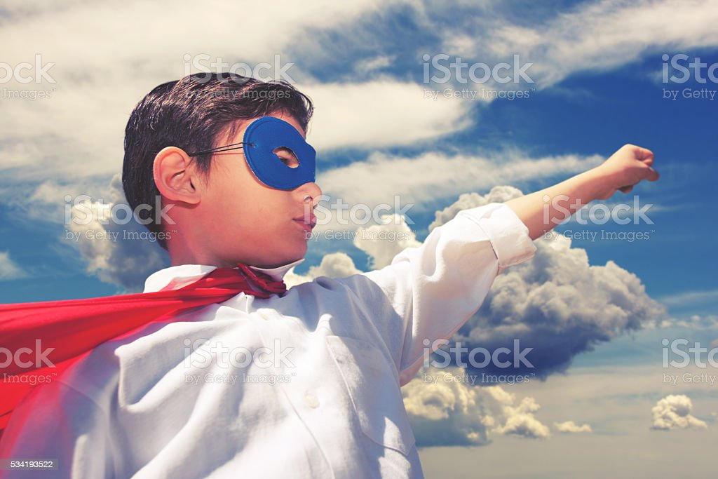 Superhero boy stock photo