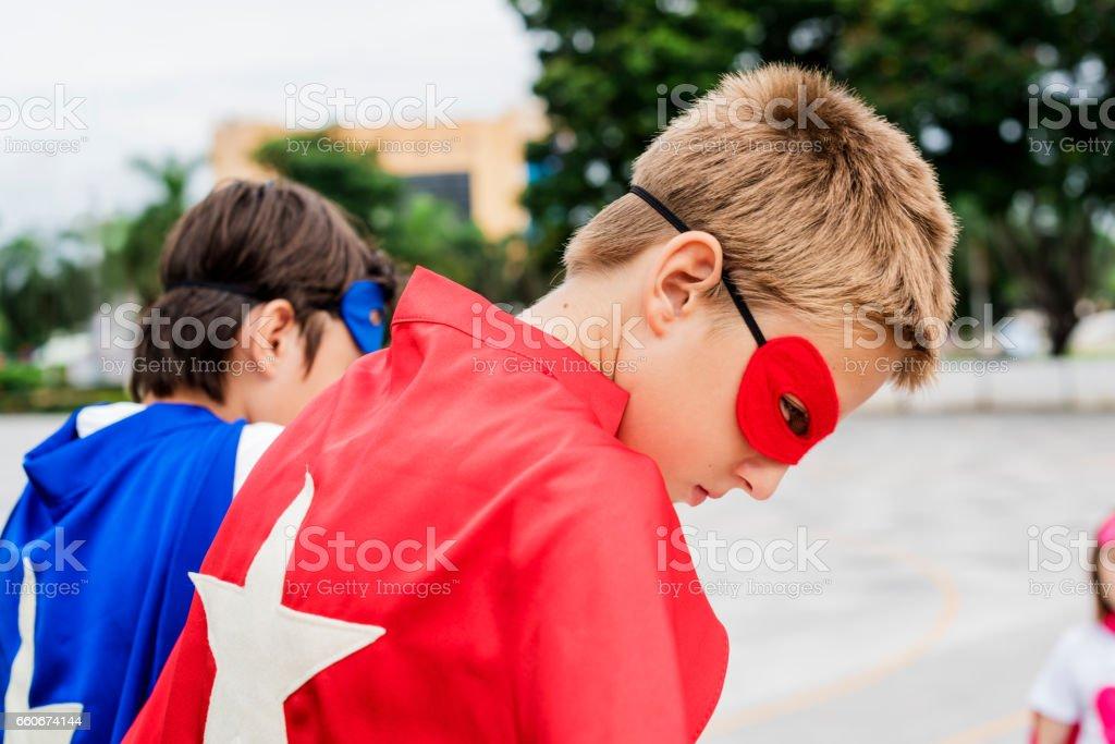 Superhero Boys Custome Freedom Concept stock photo