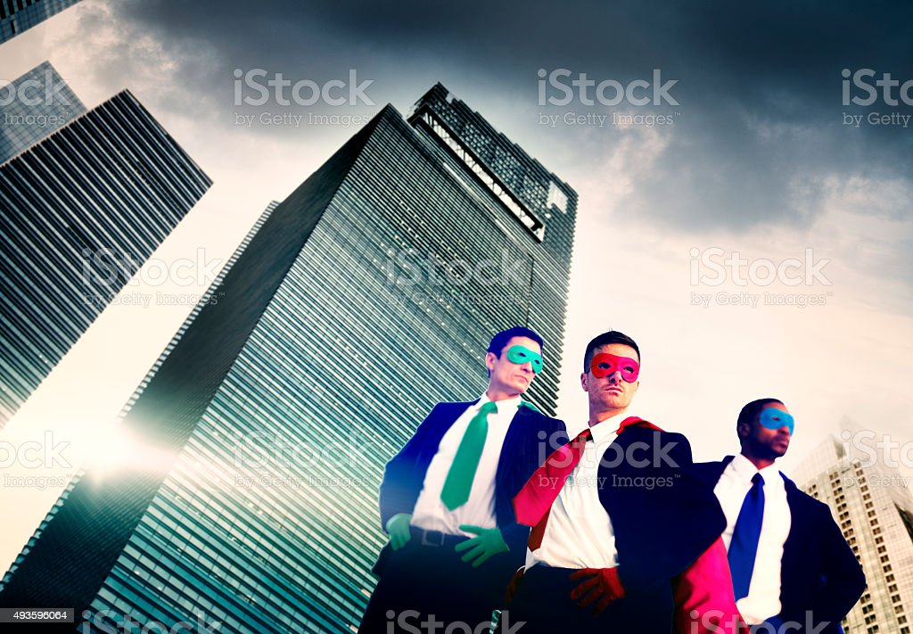 Superhero Business People Strength Cityscape Cloudscape Concept stock photo