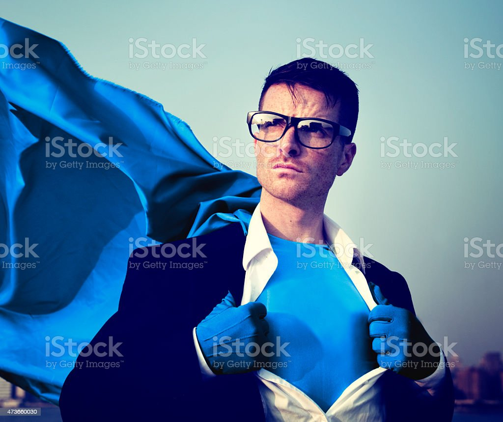 Superhero Businessman Professional Success White Collar Worker C stock photo