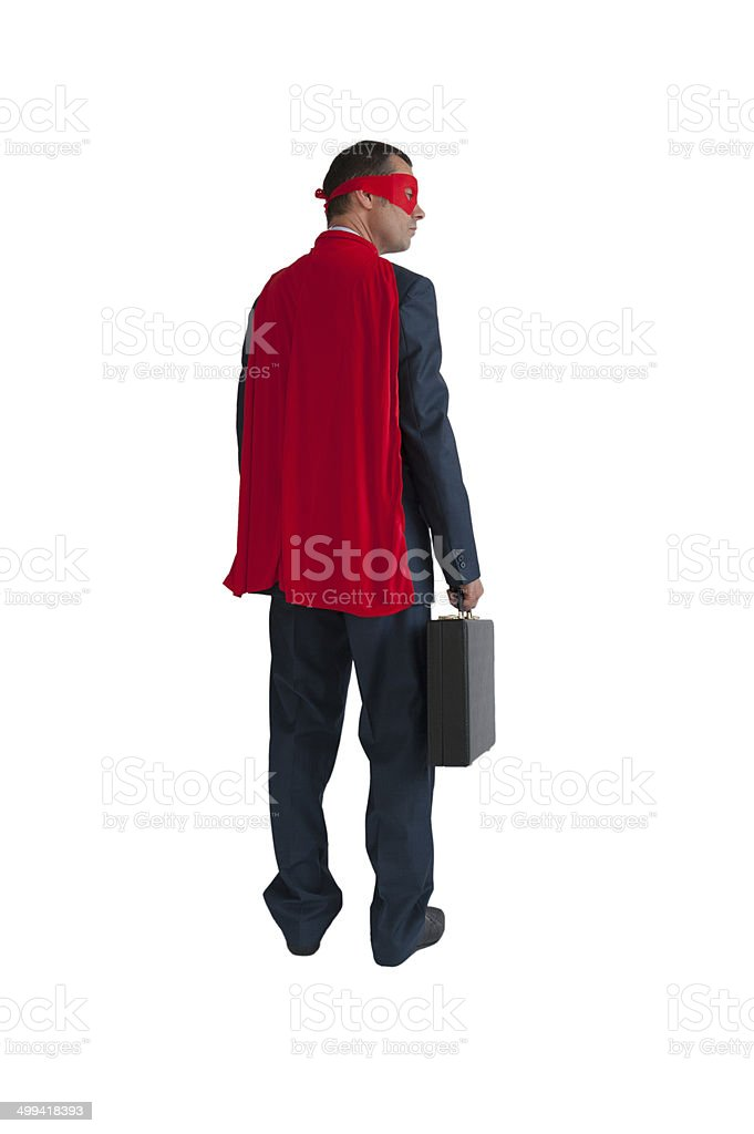 superhero businessman rear view isolated stock photo