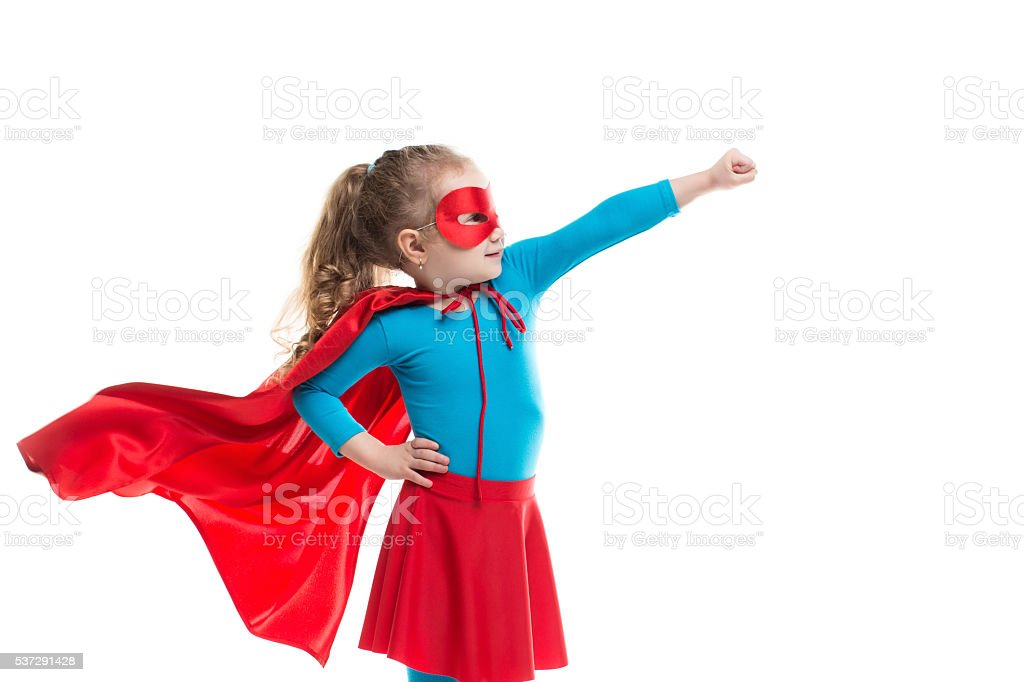 Superhero child (girl), isolated. stock photo