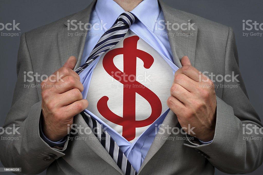 Superhero dollar man stock photo