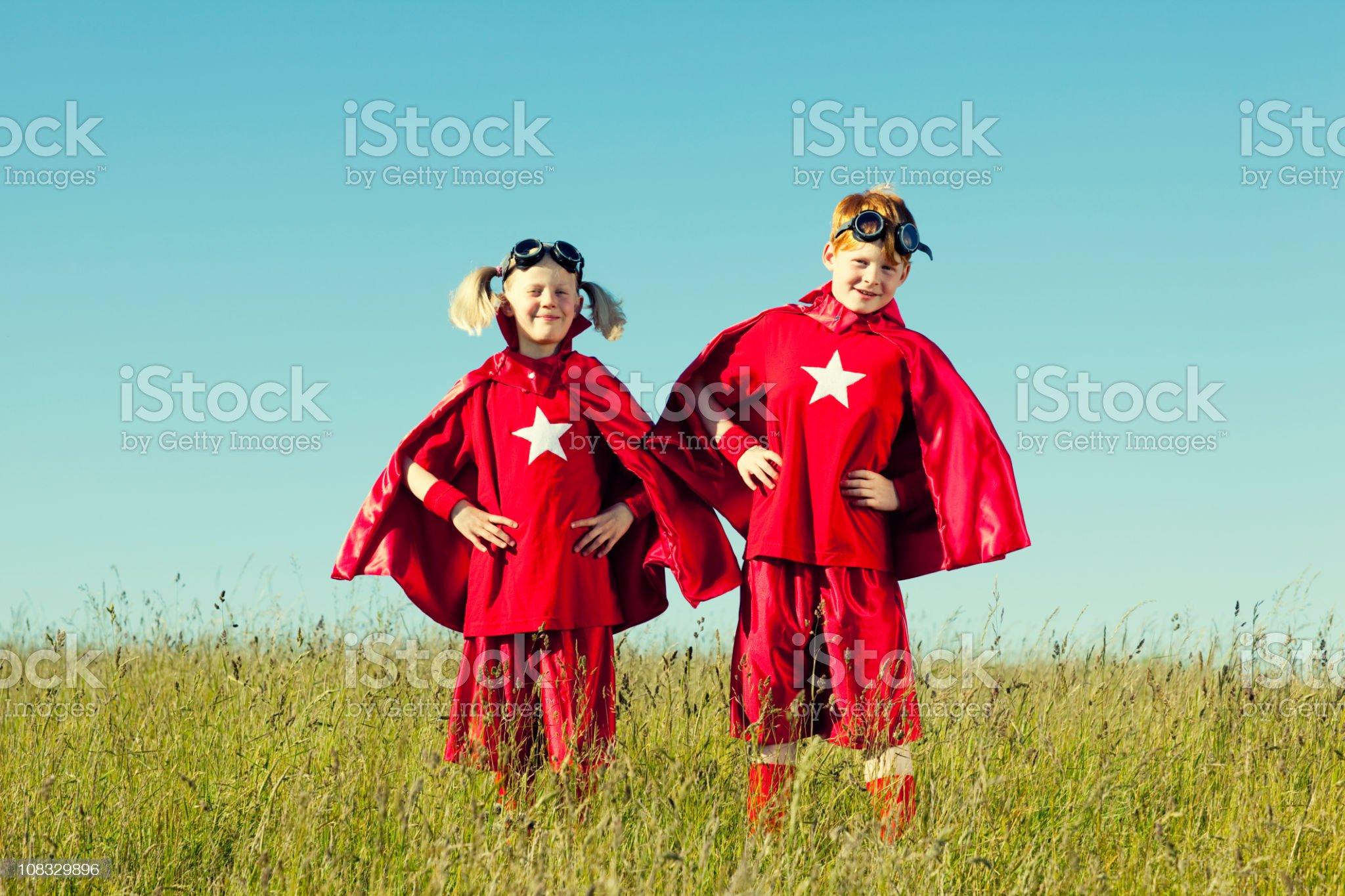 Superhero Duo royalty-free stock photo