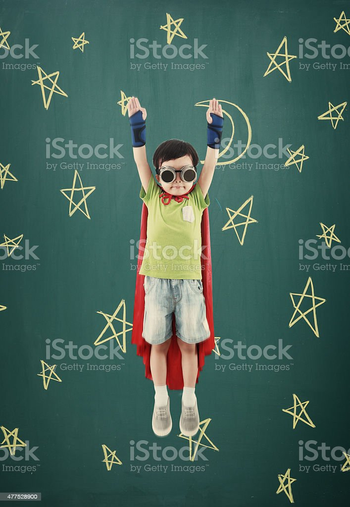 Superhero fly stock photo