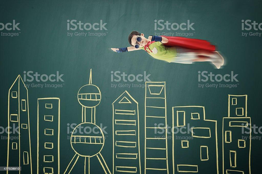 Superhero fly stock photo