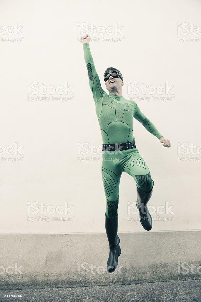 Superhero flying stock photo