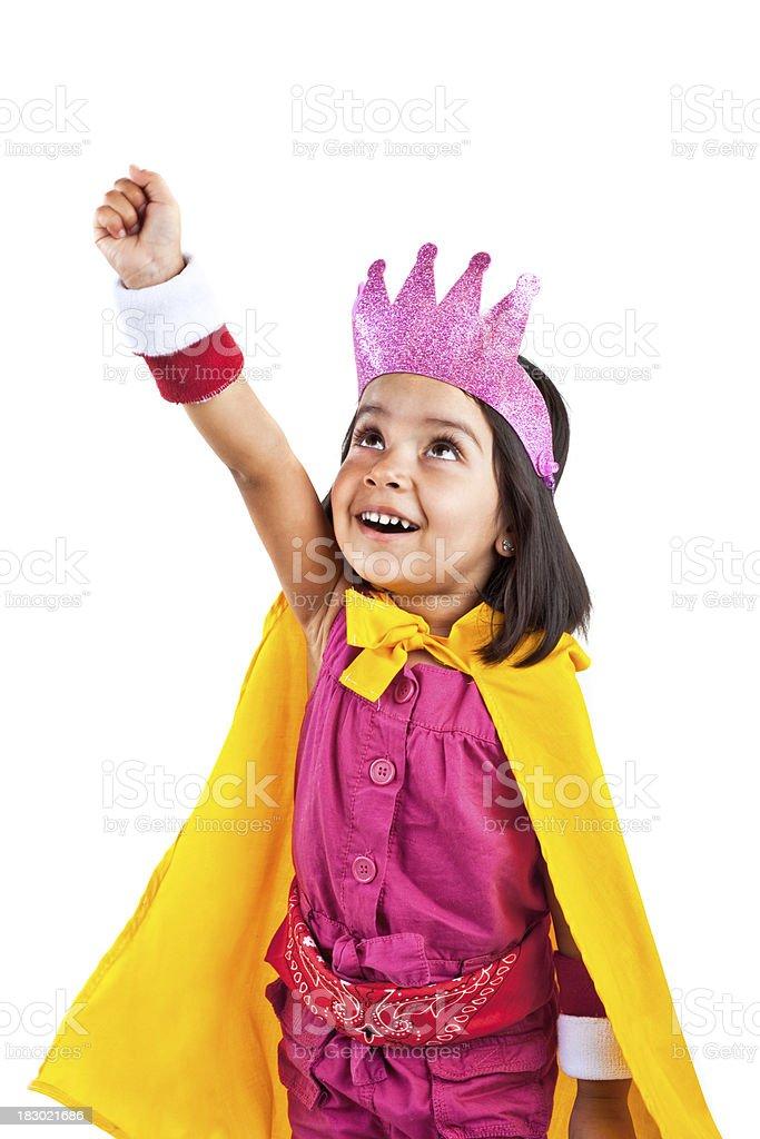 superhero girl about to take off royalty-free stock photo