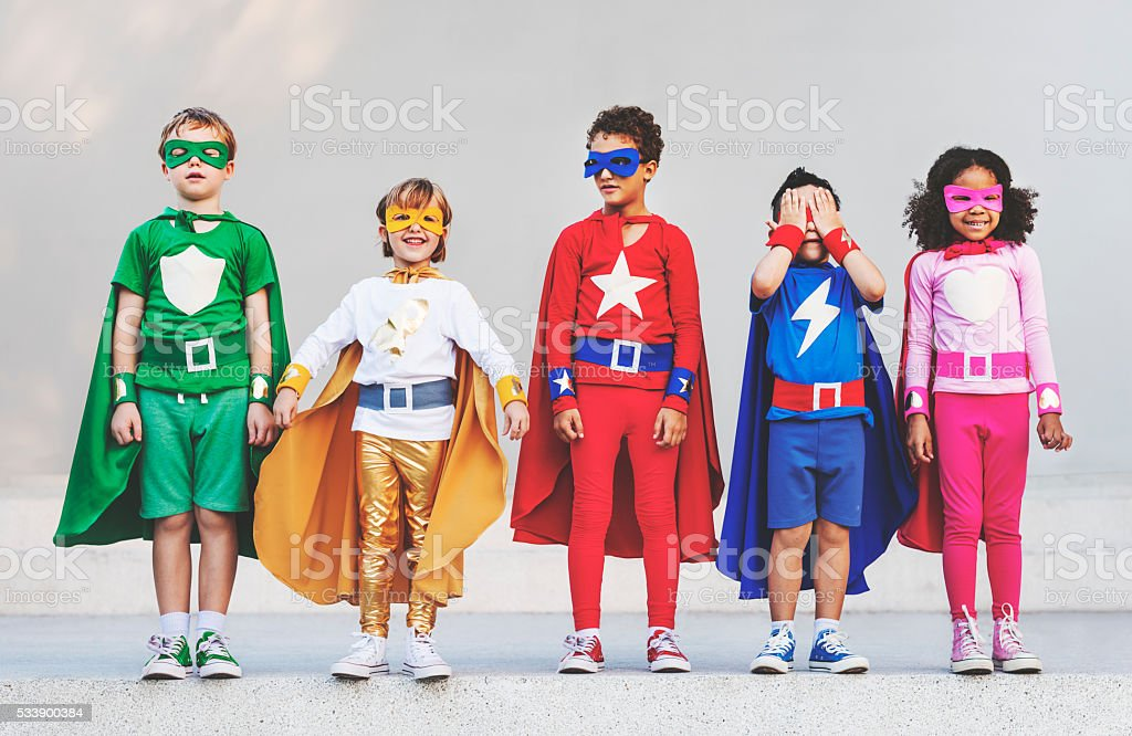 Superhero Kids Aspiration Imagination Playful Fun Concept stock photo