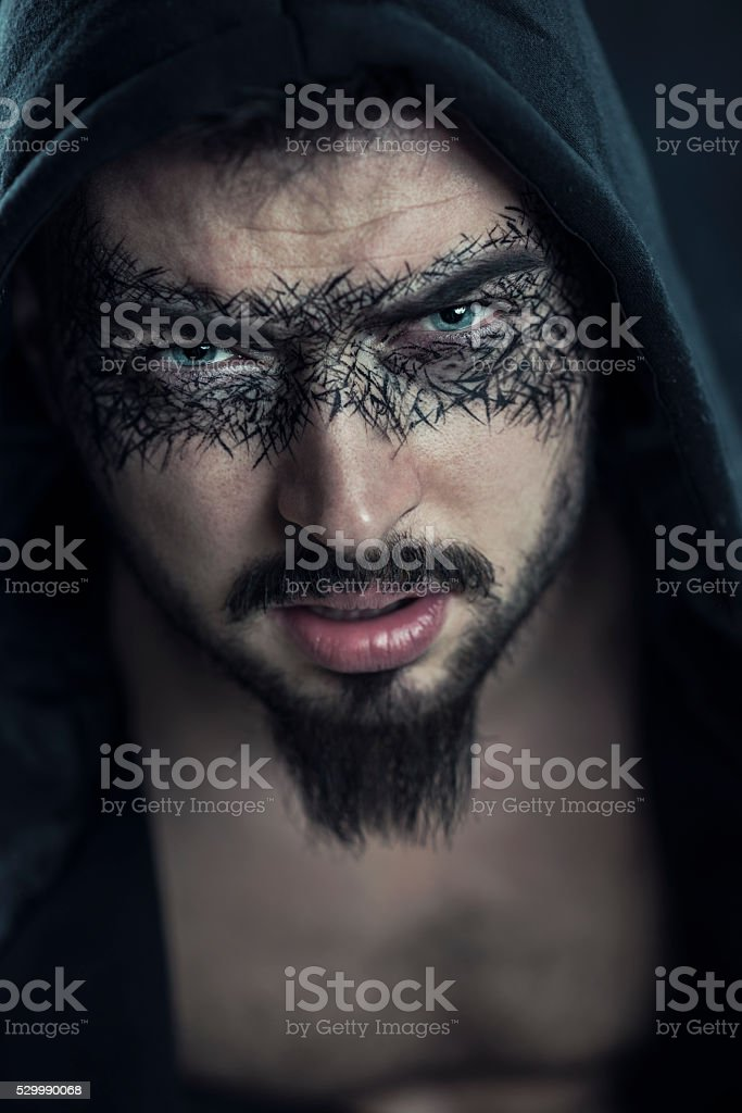 Superhero Male Under the Hood stock photo