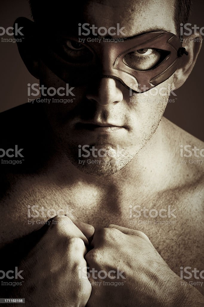 Superhero - Man with Leather Mask royalty-free stock photo