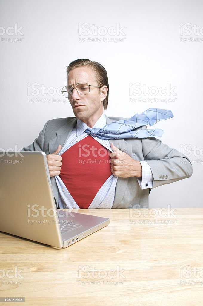 Superhero Office Worker to the Rescue royalty-free stock photo