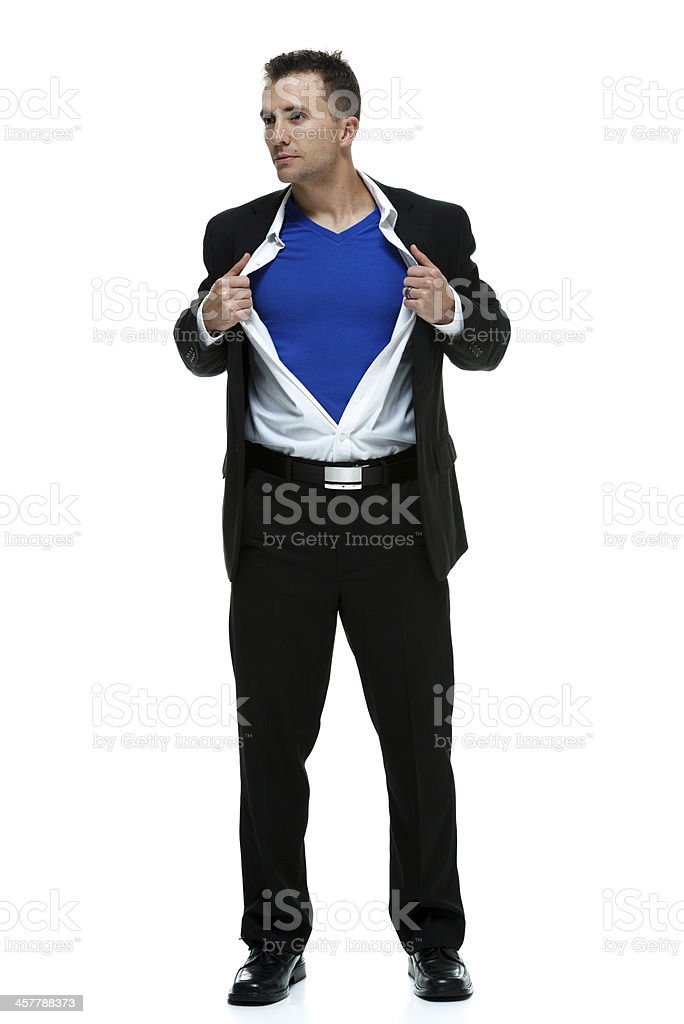 Superhero opening white shirt stock photo