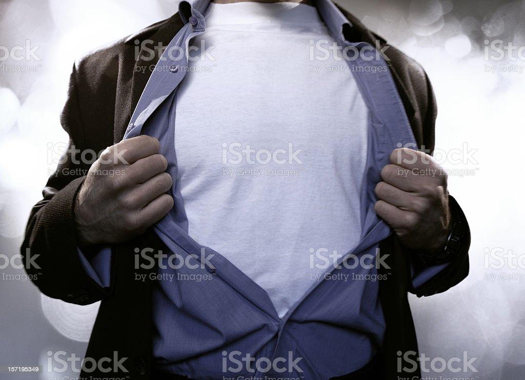Superhero Pulling Open Shirt stock photo