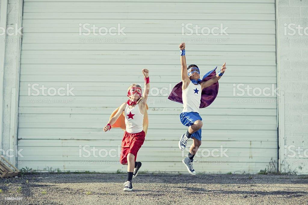 Superhero Take Off stock photo