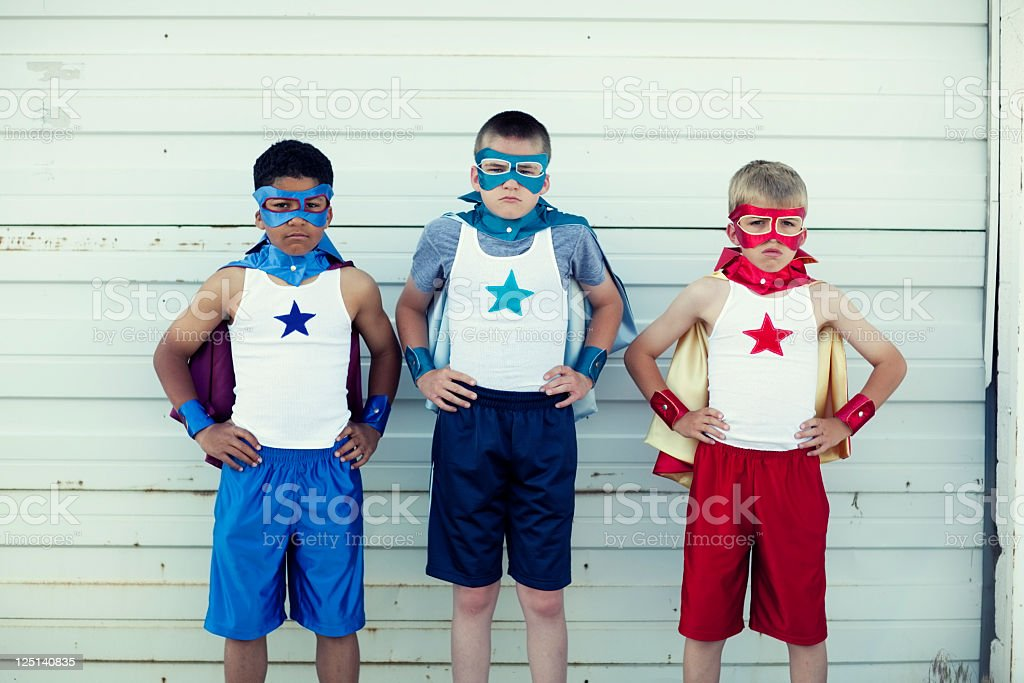 Superhero Trio royalty-free stock photo